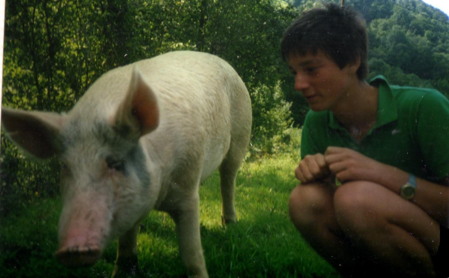 Rodolphe Dumouch à 16 ans avec un cochon finistérien.
